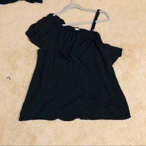 Off the shoulder black blouse